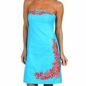 Lilly Pulitzer Bowen coral turquoise dress size 10